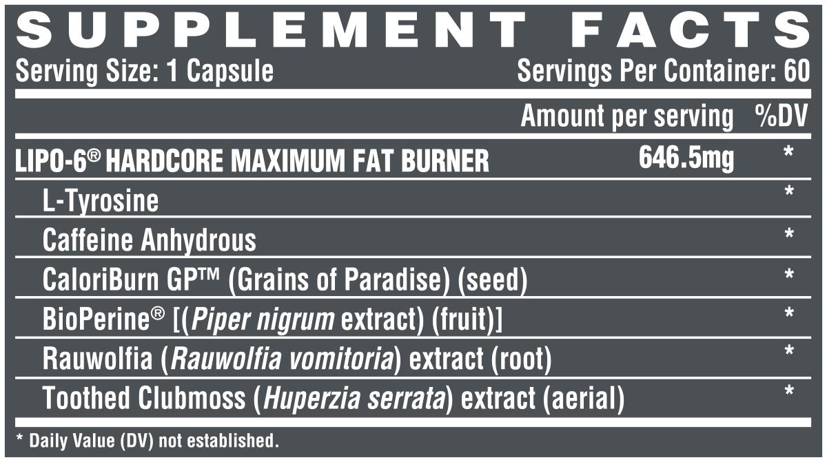 Nutrex Lipo-6 Hardcore 60 caps strong fat burner with Rauwolfia Extract    Bodyshock.pro
